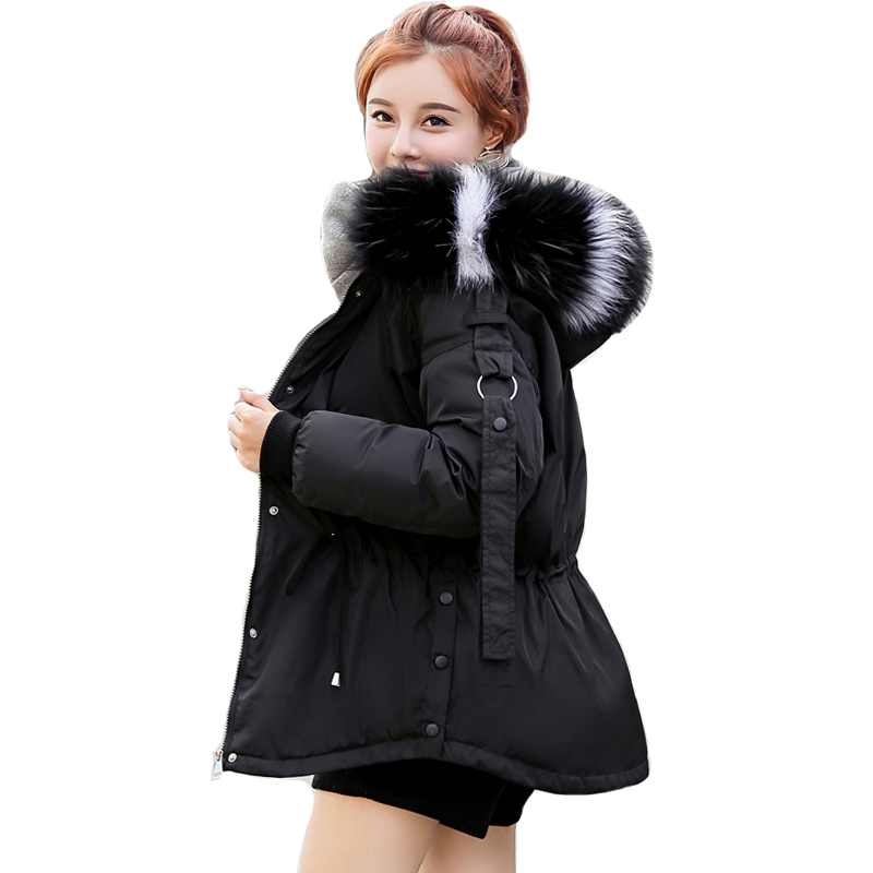 Korean Style 2019 Fashion Winter Jacket Women With Thicken Fur Collar Hooded Outwear Womens Coat Short Padded   Parka   Abrigo Mujer