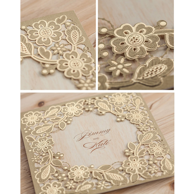 50pcs Gold Marriage Wedding Invitations Cards Laser Cut 3D Card ...