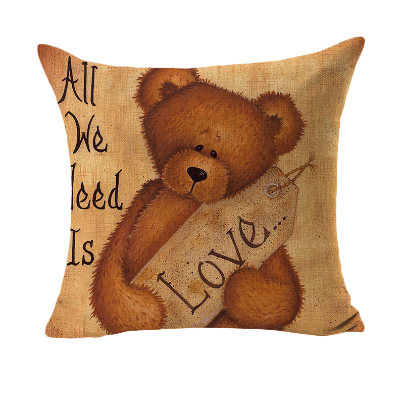 RUBIHOME Creative Decorative Cushion Cover Throw Pillowcase Polyester  Thickness Fabric Home Decor Bear Children Baby Design