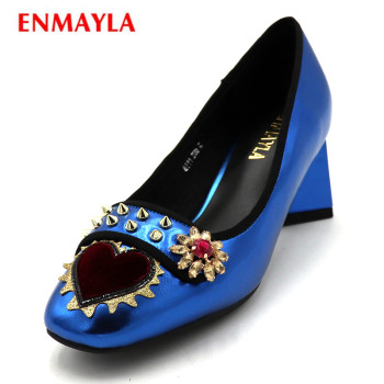 ENMAYLA Big Size Shoes Women Pointed Toe Pumps Rivet Slip-on Pumps  Ladies Flower High Heels Dress Shoes Woman