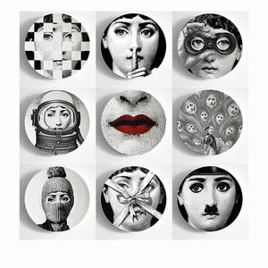 Vintage Fornasetti Plates Nordic Home Studio Hotel Bar Decorative Background Wall Hanging Art Craft Dishes
