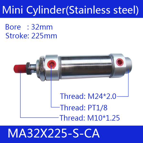 MA32X225-S-CA, Free shipping Pneumatic Stainless Air Cylinder 32MM Bore 225MM Stroke , 32*225 Double Action Mini Round Cylinders free shipping barrel 20mm bore 225mm stroke mal20 225 aluminum alloy mini cylinder pneumatic air cylinder mal20 225