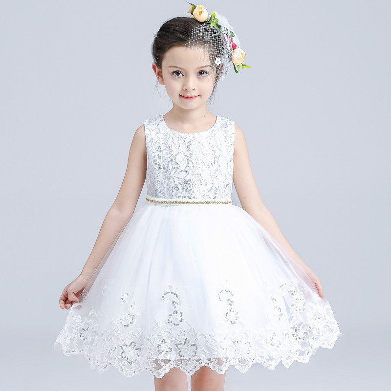 Summer New Girl Big Bow Dress Sleeveless Round Collar Knee Length Princess 8 Years Birthday Party Vestido Hollow Flower Pattern 2 8y korea style cute bow belt sleeveless round collar assorted color performing dress layered dress girl evening dress