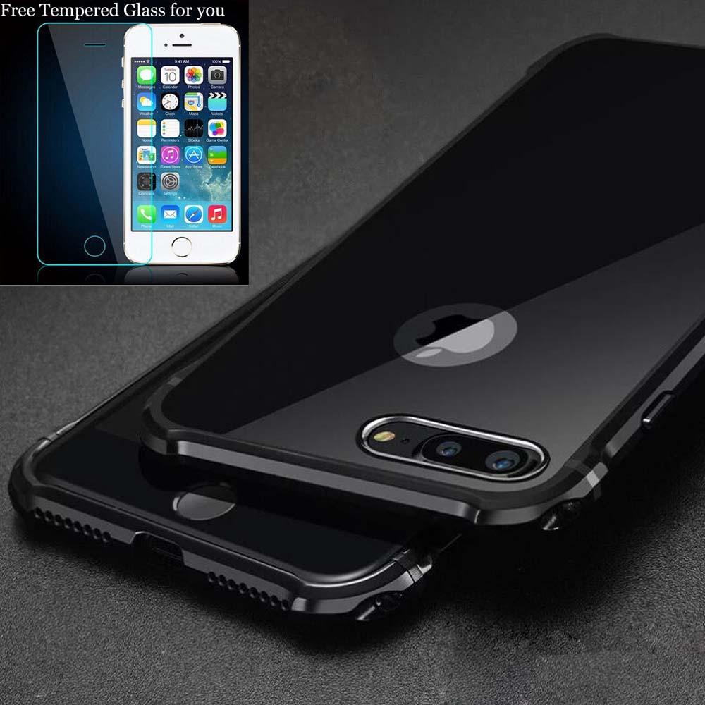 imágenes para Para iPhone 7 Plus 7 Caso de Parachoques de Lujo de Alta de Luz De Aluminio de Metal Cubierta de Parachoques Del Caso Del Capítulo para iPhone6 6 s Más Protector caso