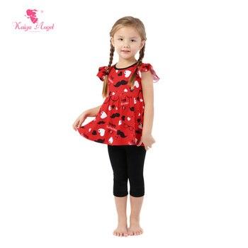 Kaiya Angel Hot Red Love Glasses Black Beard Toddler Fashion Baby Girl Boutique Clothing Set Wholesale Kids Children Outfit