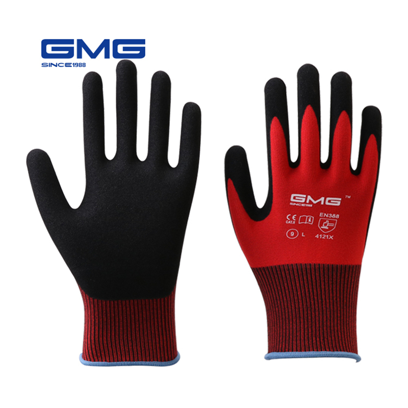 12 Pairs Construction Gloves GMG Red Polyester Shell Black Nitrile Sandy Coating Work Safety Gloves Men