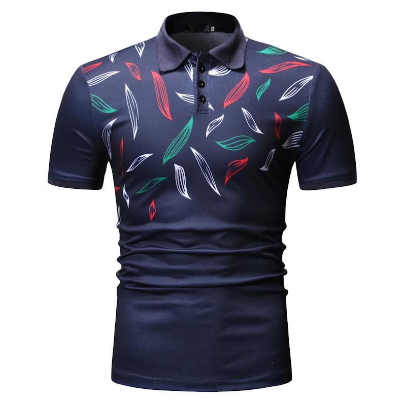 Plant flower Men   Polo   Shirt Men's Clothing Tees Casual Tops Lapel collar   Polo   Shirt Men Short sleeve Summer Navy Black