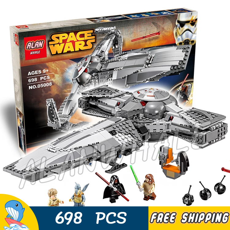 698pcs New Space Wars Sith Infiltrator TM 05008 Model Building Blocks Darth Maul Qui-Gon Toys Bricks Compatible With Lego toys in space
