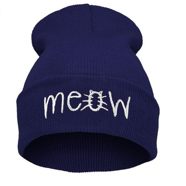 Europe and The United States Style Fall and Winter Men and Women's MEOW Embroidery Knitted Wool Warm Beanies Hat Hip-Hop RX054