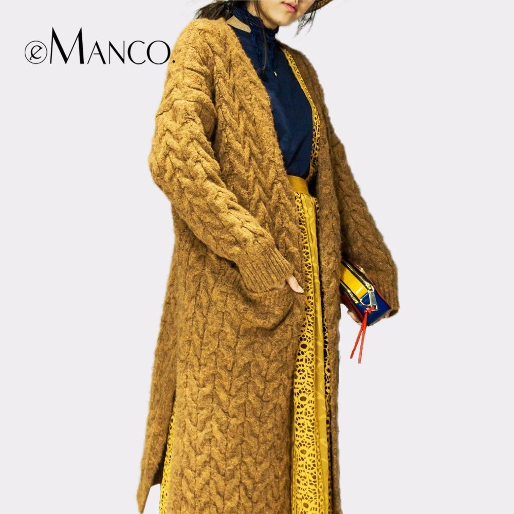 e-Manco Ультра Гибкие Акриловые Длинные Кардиганы Свитер для Женщин Мода & Casual Сплошной Цвет женской Одежды