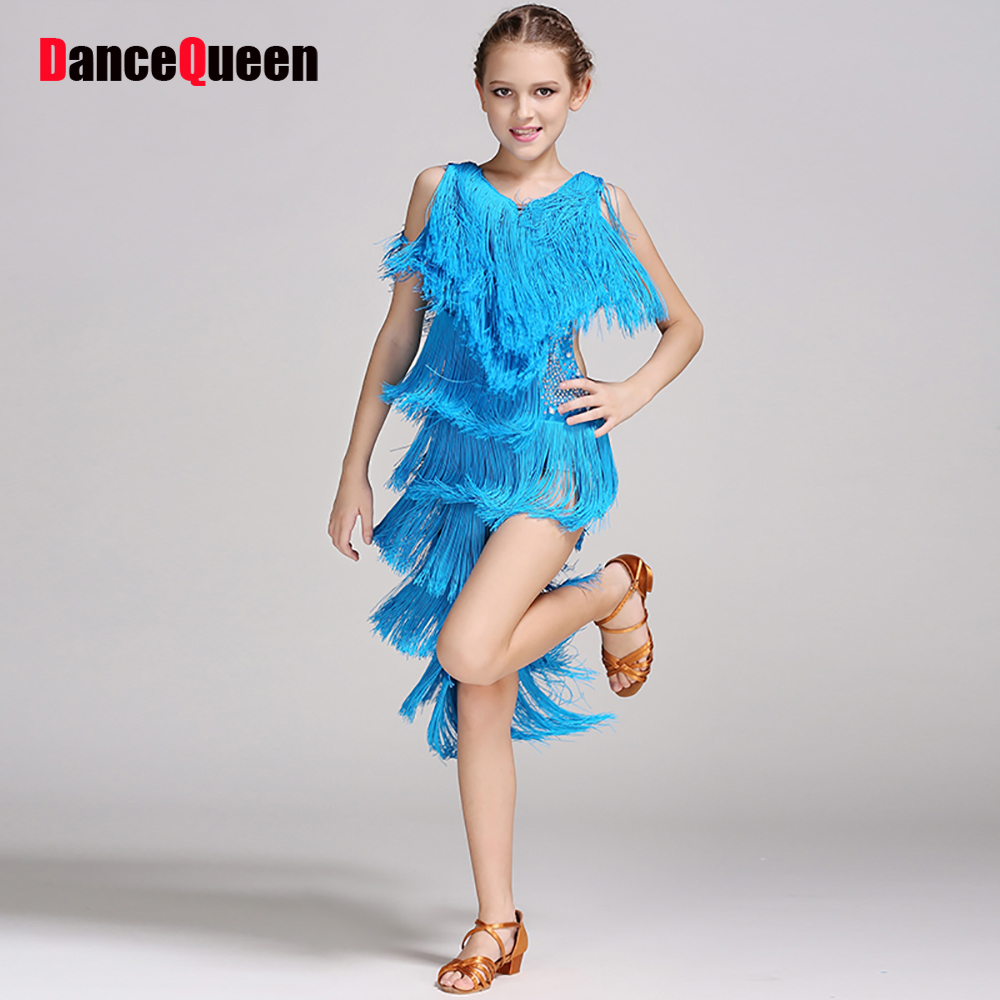 Sexy Latin Dancing Dress For Girl Blue Green Skirts Summer School Game Profession Child Kids Compete Grade Match Wears Y10482