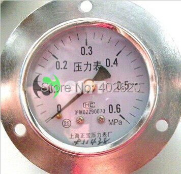 free shipping 60mm diameter stainless steel Gauge Pressure Gauge Manometer Y60ZT 0.6Mpa 0-0.6MPA thread M14*1.5 ynxc 60 2 5 shock proof magnetic help 60mm oil liquid filled electric contact pressure gauge manometer lower mount bottom