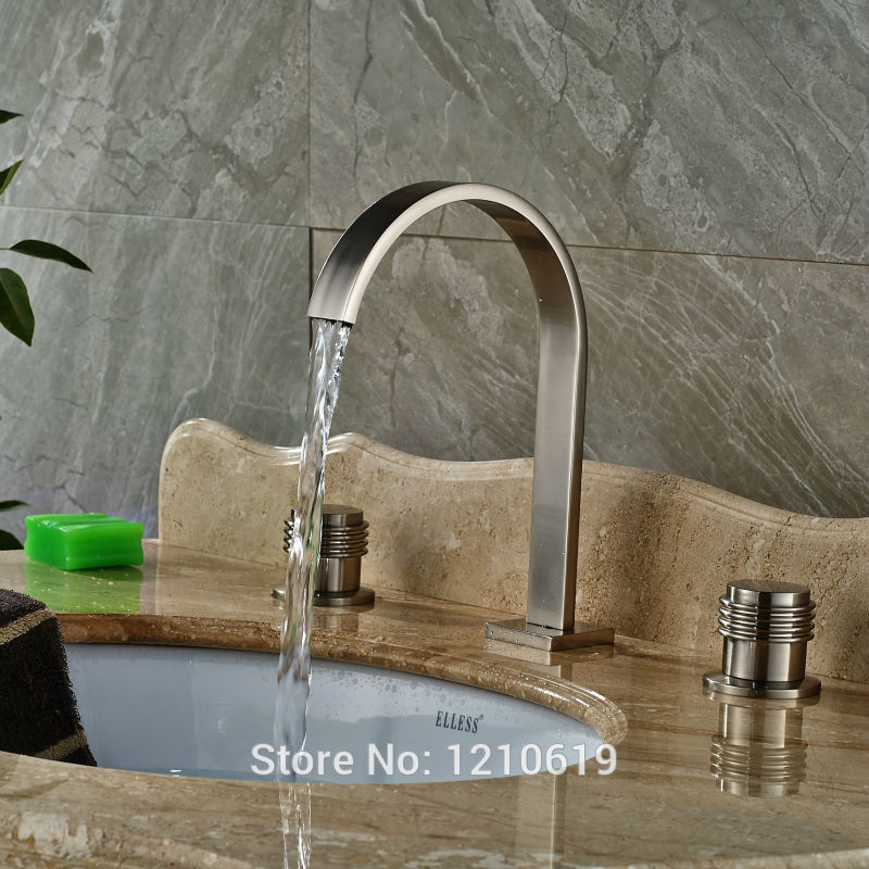 Newly 3Pcs Basin Faucet Cold&Hot Water Tap Nickel Brushed Sink Faucet Mixer Tap Dual Handles Deck-mount 2016 new nickel brushed dual handles basin mixer faucet deck mount 3 holes bathroom sink hot cold water taps