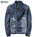 Men's casual pleated stand collar slim denim jacket Pleated biker coat Outerwear