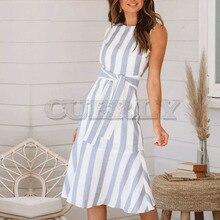 Cuerly casual wide striped print dress women patchwork midi bow streetwear female vestidos L5