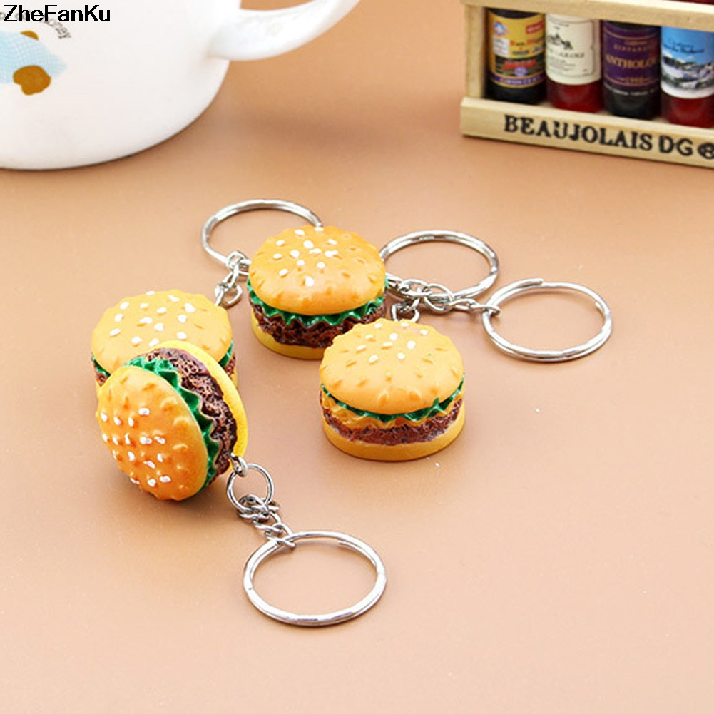 Cute Hamburger Keychain Simulation Food Hamburger Pendant Key Ring Novelty Key Chain Christmas Birthday Gift aluminum wall mounted square antique brass bath towel rack active bathroom towel holder double towel shelf bathroom accessories