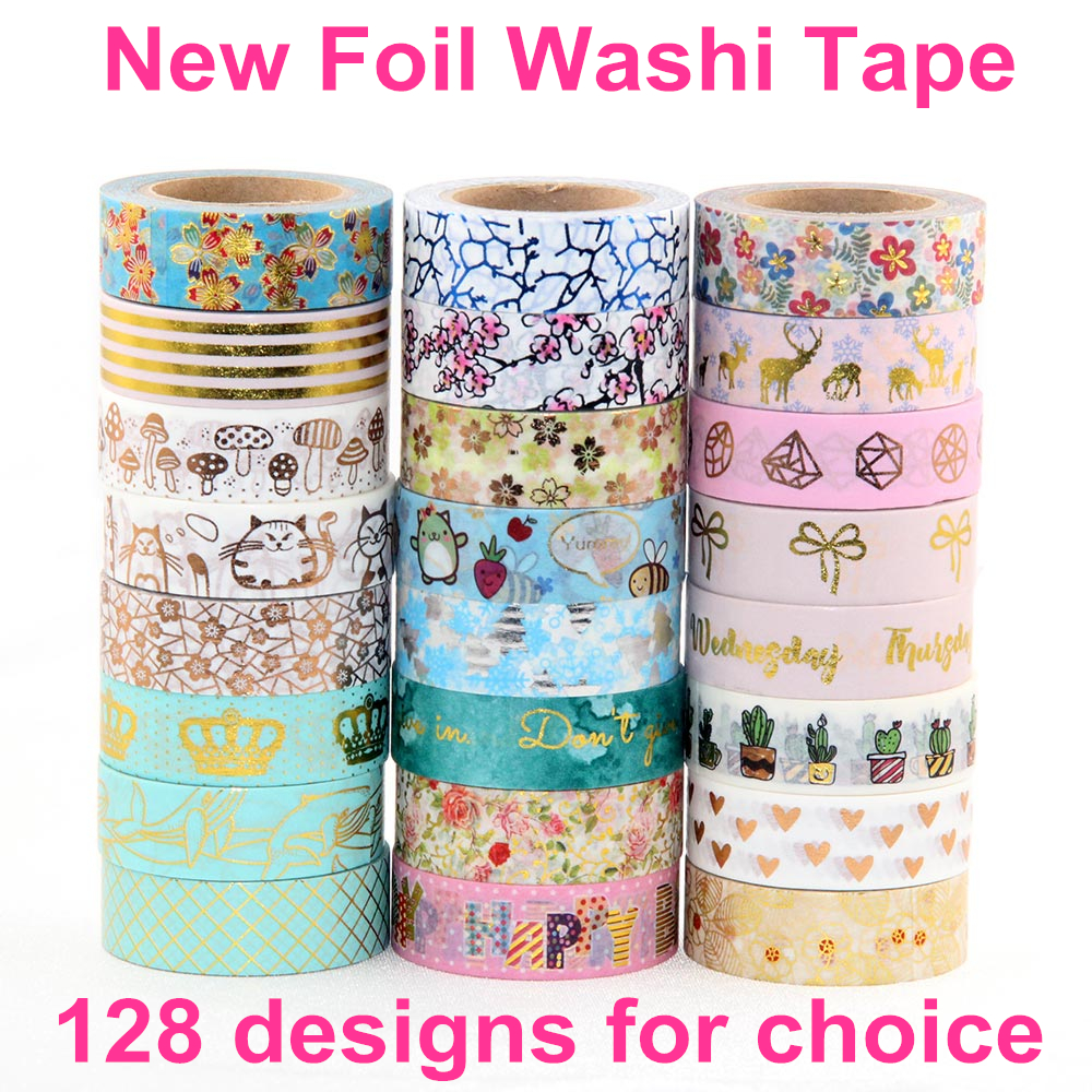 Hot Sales! 10X  Gold Foil Japanese washi masking tape christmas washi tape decorative scotch tape  washi tape wholesale 10m gold foil washi tape scrapbooking christmas decorative masking tape