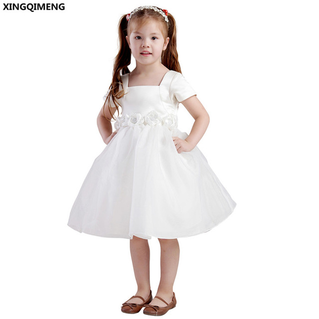 0028c7d3f2e Beaded Flower Girl Dresses Short Sleeve Satin Organza First Holy Communion  Dresses Little Ladies Gown Lovely vestido de daminha