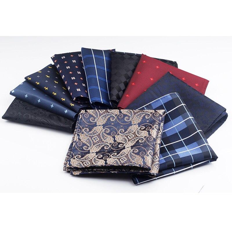 New 10 Colors Handkerchiefs Woven Plaid Paisly Striped Hanky Men's Business Casual Square Pockets Handkerchief Wedding Hankies