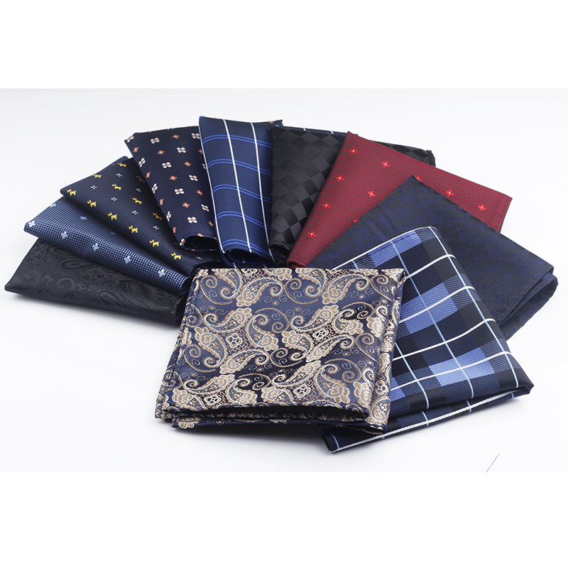 New 10 Colors Handkerchiefs Woven Plaid Paisly Striped Hanky Men's Business Casual Square Pockets Handkerchief Wedding Hankies