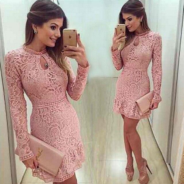 983543fc5 Chegam novas Vestidos Moda Feminina Vestido de Renda Ocasional 2018  O-pescoço Manga Rosa Vestidos