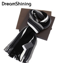 [DreamShining] Bufandas 2017 Foulard Fall Fashion Designer Wrap Men Business Scarf Winter Striped Scarf Men Shawls Scarves
