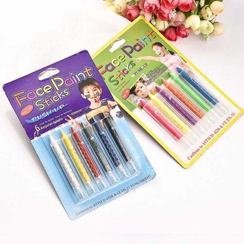 6 Colors Face Body Painting Pencils Paint Crayon Pen Stick Splicing Structure For Christmas Halloween Party Makeup Decoration