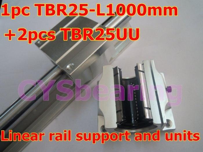 1 шт. tbr25-l 1000 мм линейный подшипник рельсы Поддержка вала+ 2 шт. TBR25UU Линейный подшипник скольжения чехол блок для CNC XYZ стол
