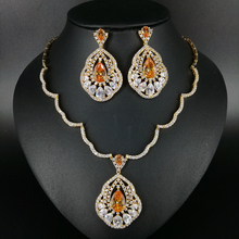 2017 NEW FASHION retro champagne water drop zircon pure gold color necklace earrings wedding bride banquet dinner jewelry set