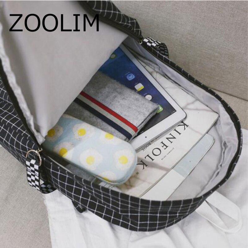 XIDIONE Harajuku Brief Grid Backpack White Black Women Travel Ribbon Smile Backpack Students Canvas Double Shoulder Bag Mochila