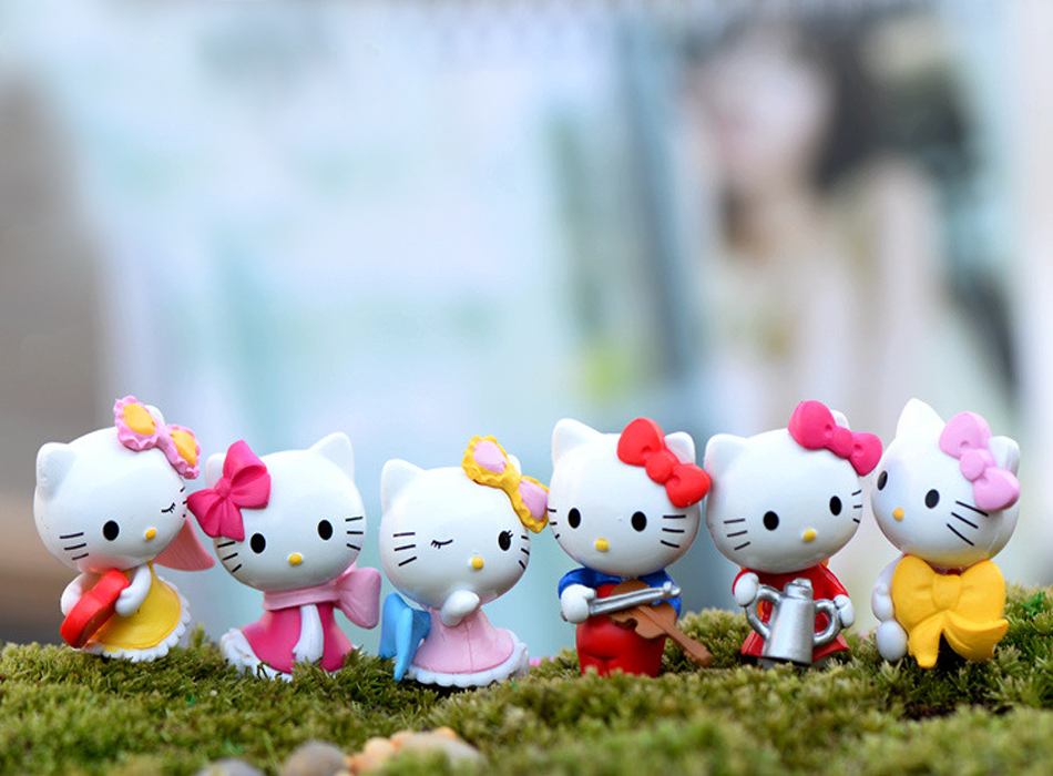 6pcs/lot 2*3cm Lovely Hello Kitty Cat Miniature Figurines Toys Model Kids Toys PVC Japanese Anime Children Action Figure Toys 20pcs lot cute littlest pet shop toys lot figures collection toy cat dog loose kids action figure toys for children