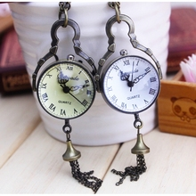Steampunk good quality nice Roman Numbers antique vintage classical mini glass ball pocket watch necklace hour