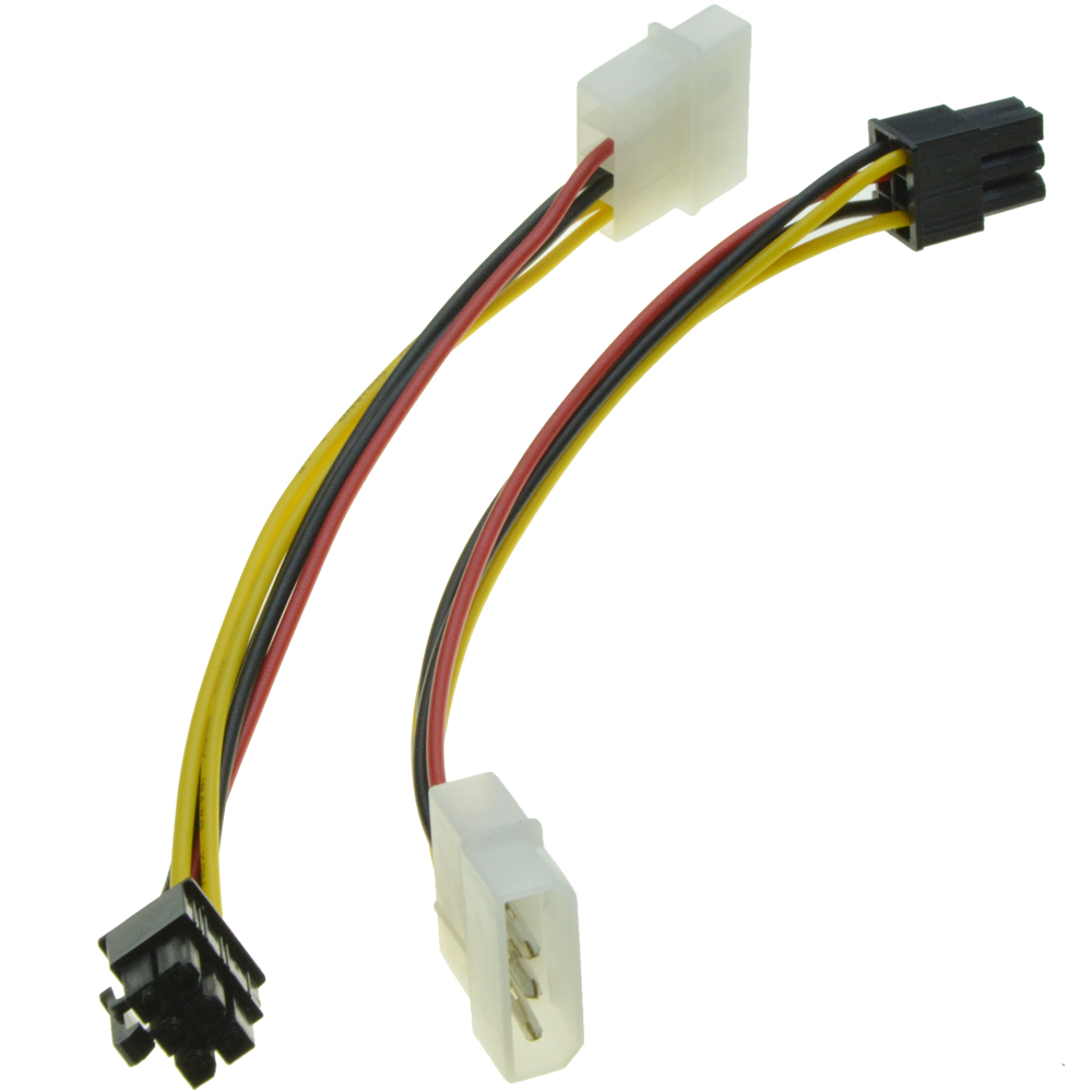 USED Dual 6 Pin Female To 8 Pin Male PCIE VGA Power Cable for NVIDIA ATI RADEON