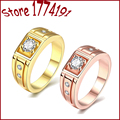 2016 New Fashion Men and Women Wedding Rings Gold Plated Rings Stainless Steel Couple Wedding Rings for Men and Women