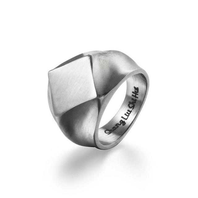 Classic Stainless Steel Black Square Ring 10