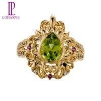 Lohaspie Natural Peridot Rhodolite Garnet White Topaz 10K Yellow Gold Wedding Band Rings Vintage Fine Jewelry