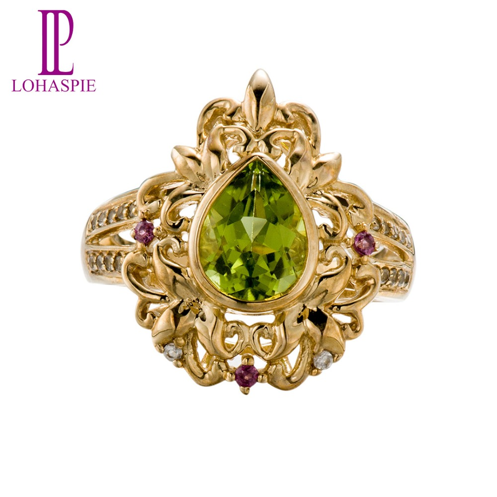 Lohaspie Natural Peridot & Rhodolite Garnet & White Topaz 10K Yellow Gold Wedding Band Rings Vintage Fine Jewelry For Women ключ nn ми 14358 17 19 мм