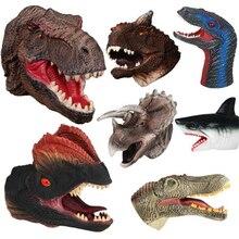 Мягкая виниловая Резина голова животного ручной кукольный рисунок игрушки перчатки для детей модель подарок динозавр ручные марионетки для детей