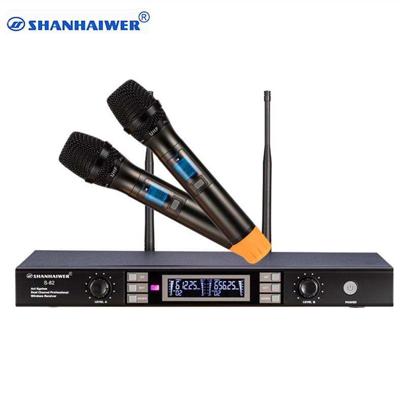 Long distance signal receiving Dual channel Handhold Professional UHF Wireless Microphone high sensitivity karaoke megaphone kit цена