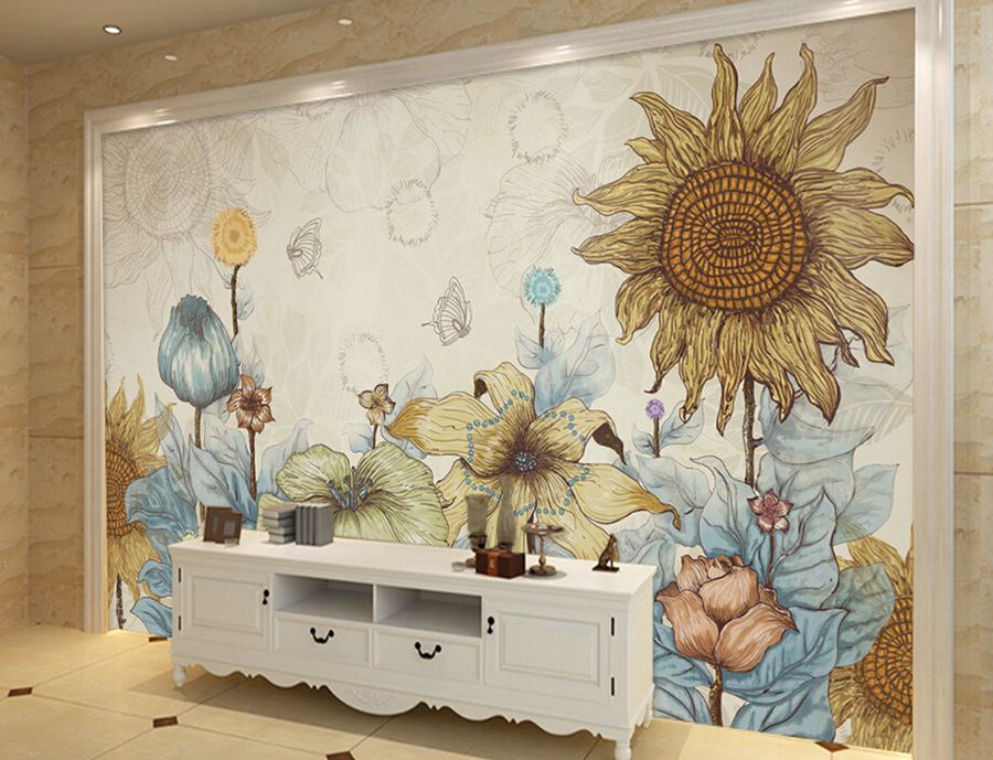 Aliexpress Com Buy Large Custom Mural Wallpapers Living: Custom Large Mural,Retro Hand Drawn Cartoon Sunflower