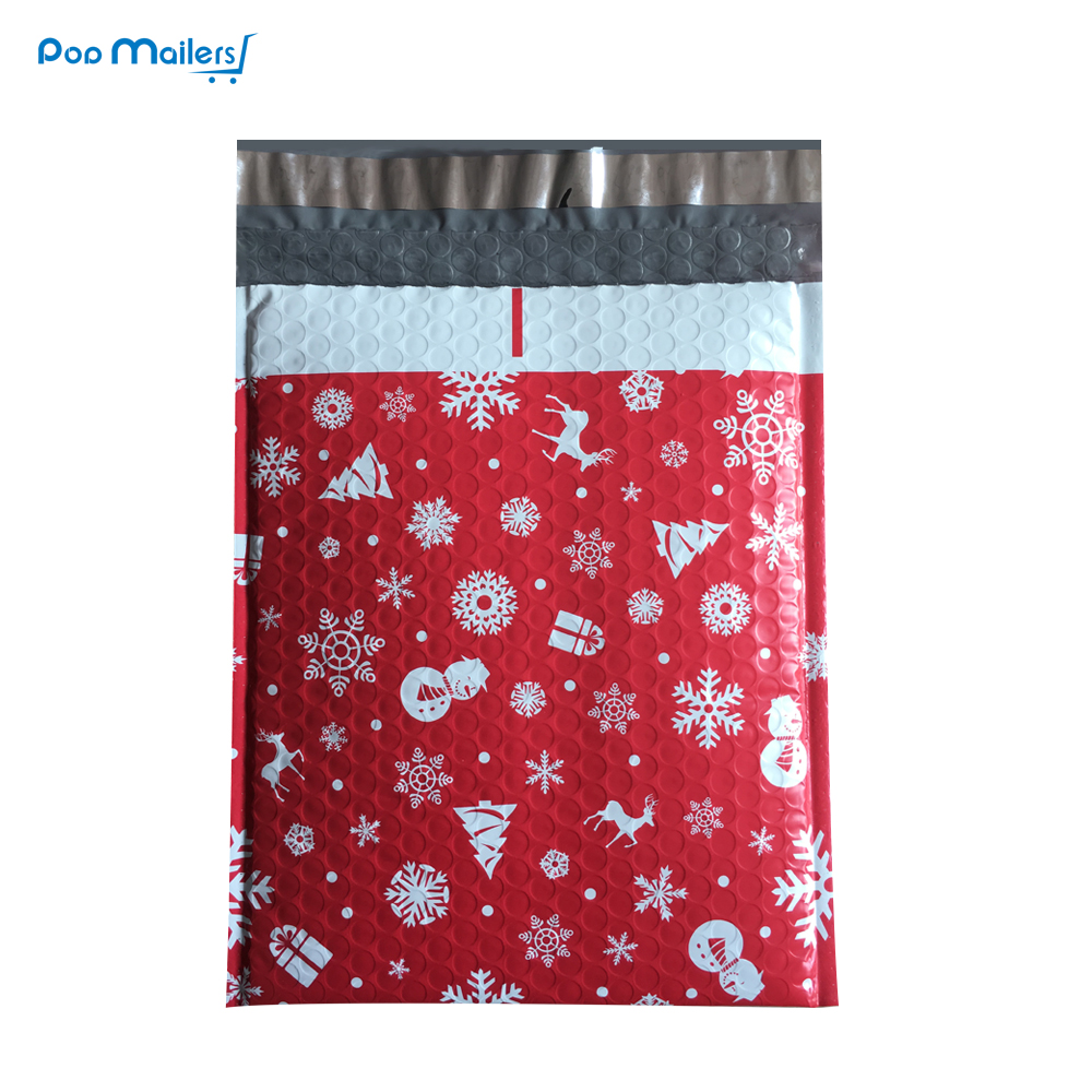 10pcs 6*9inch 185*230mm Red Christmas Theme Snowflake Elk Pattern poly Bubble mailers Envelope Gift Bag plus size christmas snowflake elk print hoodie