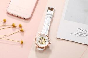 Image 2 - ORKINA montre de luxe pour femmes, horloge mécanique, avec bracelet blanc, boîtier en or, marque de luxe, collier en perles