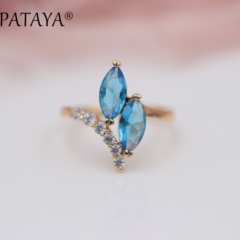 PATAYA New Arrivals Blue Double Horse Eye Natural Zirconia Rings 585 Rose Gold Trendy Party Jewelry Women Wedding Novel Ring