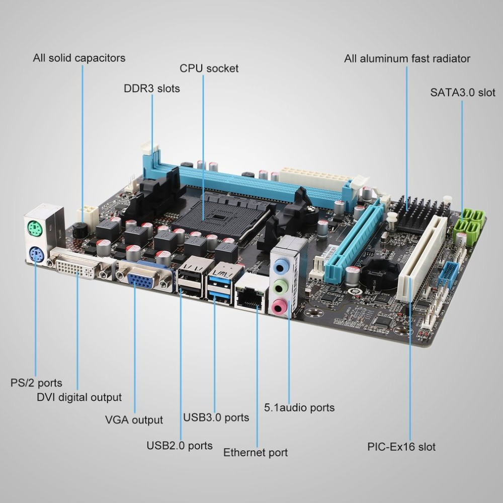 F2A68MFM2 Computer Motherboard Anti-surge Full-time Power Guardian USB 3.0 Data Transmission DIGI+ VRM & EPU Control