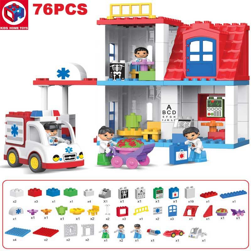 Kid's Home Toys Duploe Large Particle City Hospital Duplo Building Block City Doctor Nurse Figures Brick Toy Compatible Duploe