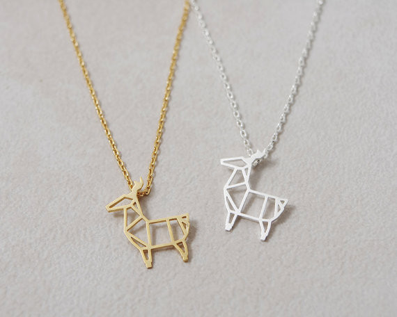 2014Fashion 18k Gold silver plated  Origami Deer necklace Pendant Necklace for women gift Free Shipping Wholesale