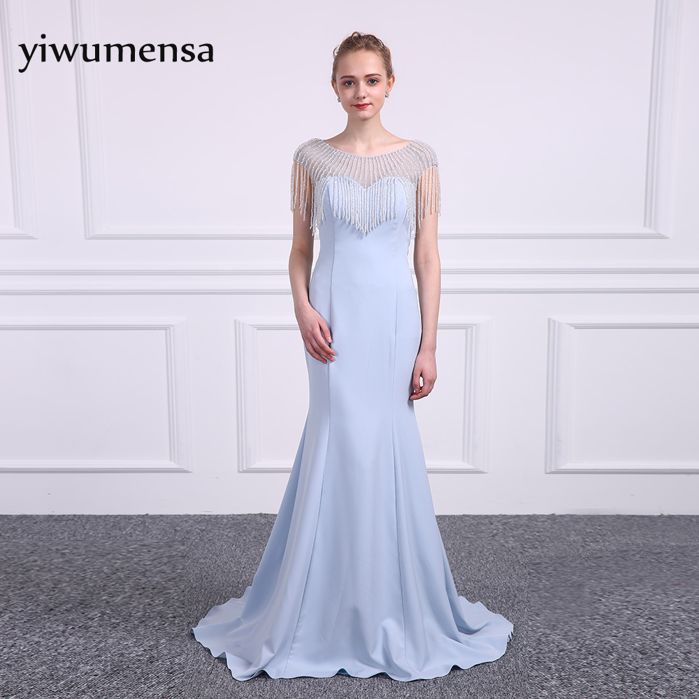 yiwumensa Bling Bling beading Mermaid   Prom     dresses   2018 Lavender Beauty Scoop Neck Vintage   Prom     dress   Cap sleeve   Prom   gowns