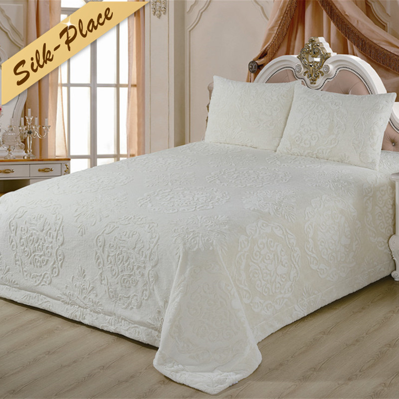 SILK PLACE New Thicken Quilt Blanket On The Bed Very Smooth Queen Size Blanket For Bed King Size Sleep Solid Bed Cover Bedspread