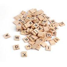 100PCS Wooden Alphabet Tiles Letters Numbers