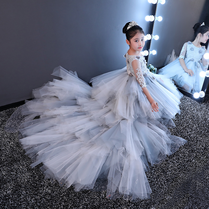 Luxury Princess Girl's Ball Gown Dresses Long Trailing Sweet Floral Banquet Dress Half Sleeve Kids Girl Mesh Wedding Gowns JF597